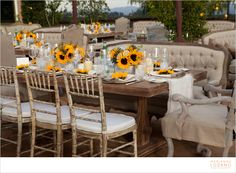 Outdoor sunflower table setting (Versailles furniture)