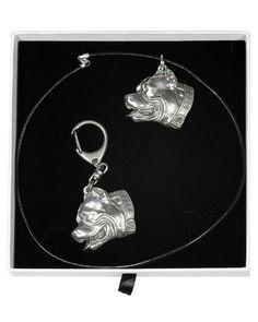 Casket, Pit Bull, Dog Lovers, Pendant Necklace, Statue, Drop Earrings, Chain, Elegant, Dogs