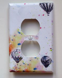 Hot Air Balloons Decorative Outlet Light Switch Cover Plate Great room decor for kids and Baby Nursery Decor And for Any Adventurer