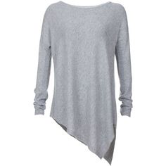Alice + Olivia Long Sleeve Asymmetrical Boxy Sweater ($199) ❤ liked on Polyvore featuring tops, sweaters, shirts, blouses, grey, gray long sleeve shirt, long sleeve shirts, loose fitting shirts, loose long sleeve shirt and long-sleeve shirt
