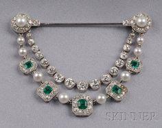 Emerald, Diamond, and Seed Pearl Drapery Brooch, Cartier