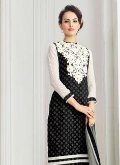 Luscious Black & Grey Coloured Semi Stitched #BuypartywearsalwarsuitsonlineIndia