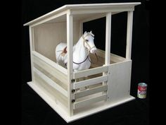 "Wood Handmade Toy Horse Stable for 19-20"" tall Horses"