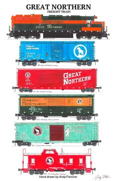 A Great Northern freight train pulled by the Hustle Muscle engine. Hand drawings by Andy Fletcher