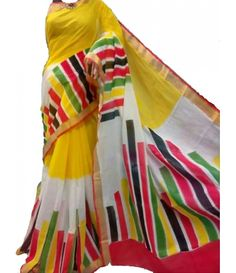 Yellow Block Print Kerala Cotton Saree