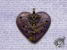 Gateway to Acheron pendant - Dante's Inferno - purple & bronze polymer clay heart, metal key and chains - Gothic Literary Medieval