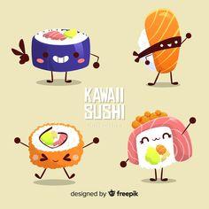 Dessert Kawaii, Kawaii Fruit, Kawaii Cat, Kawaii Girl, Unicorn Cat, Cute Unicorn, Nigiri Sushi, Arte Do Sushi, Happy Birthday Donut