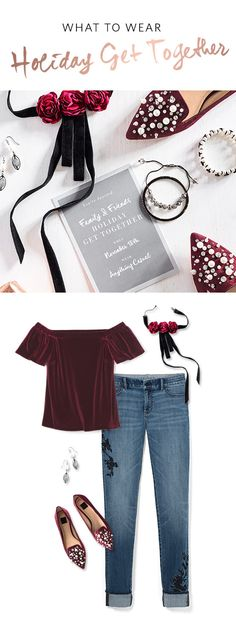 "The holidays consist of planned social events, but also impromptu invites. When the occasion is a casual get- together with family and friends, touches of velvet add holiday cheer to any look. From an Off-The-Shoulder Velvet Top paired with our Rose Velvet Choker to Embellished Flats in rich burgundy, these items elevate the infamous ""I'm just wearing jeans"" quote.