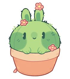 [p]: cactus bun by blushbun.devianta… on [p]: cactus bun of blushbun. Cute Animal Drawings Kawaii, Cute Little Drawings, Cute Cartoon Drawings, Cartoon Kunst, Cartoon Art, Cactus Cartoon, Cute Food Drawings, Kawaii Doodles, Cute Doodles