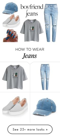 """boyfriend jeans ♡"" by the-neko-scamp on Polyvore featuring WithChic, Topshop and Mudd"