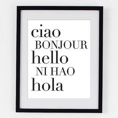 Typographic Print  Hello Print  French Italian by Riverwaystudios