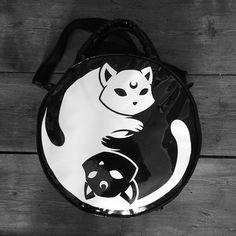 bag yin yan yin yang luna lunatic moon cats cats kawaii goth pastel goth harajuku emo punk grunge soft grunge purse handbag