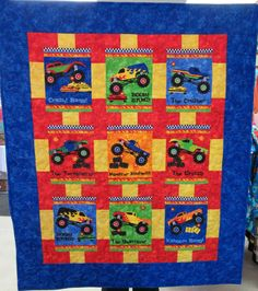 Monster Truck Madness quilt backing - using the border print - in ... : monster truck quilt - Adamdwight.com