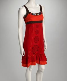 This Orange Flower Ruffle Dress - Women by Coline USA is perfect! #zulilyfinds