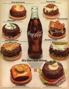 Vintage Ads : Coca-cola With Burgers (eight Different) Coke Vintage Advertising Campaign Coca-cola With Burgers (eight Different) Coke Advertisement Description Coca-cola With Burgers (eight Different) Coke Sharing is love ! Vintage Coca Cola, Coke Ad, Coca Cola Ad, Pepsi, Retro Recipes, Vintage Recipes, Ethnic Recipes, Vintage Advertisements, Vintage Ads