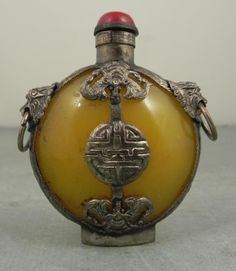 Antique Chinese Snuff / Perfume Bottle w/ Bats, Lions