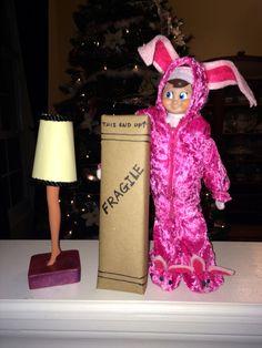 THE ELF ON THE SHELF~ELF CHRISTMAS STORY BUNNY. #elf #achristmasstory #leglamp #elfwars #elfontheshelf #elfontheshelfideas