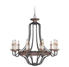 View the Jeremiah Lighting 36510 Ashwood Single Tier 10 Light Candle Style Chandelier - 38.5 Inches Wide at LightingDirect.com.