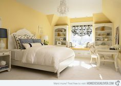 18 Charming & Calming Colors for Bedrooms   Home Design Lover. Guest bedroom - small chandelier, white bed, black and white accents.