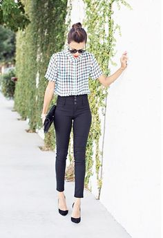 High-waisted cropped skinnies + fully buttoned collared shirt. // #StreetStyle
