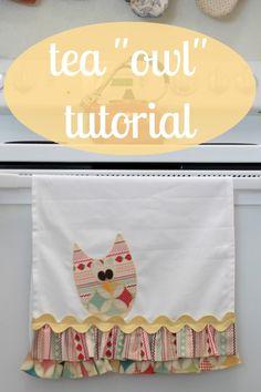 DIY Owl Tea Towel with template Pinned by www.myowlbarn.com