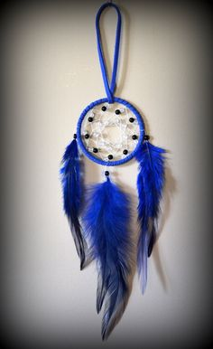 Miniature Royal Blue Suede Dream Catcher. by DreamySummerNights