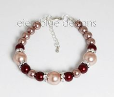 Rose and Wine Pearl Bracelet