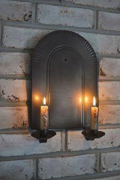 $16 Primitive-Antique-Vintage-Black-Metal-NORTHWOODS-Double-Candle-Sconce