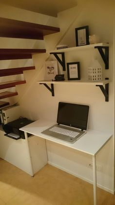 Desk Under Stairs, Girls Bedroom, Bedroom Ideas, Basement Ideas, Preston, Corner Desk, House Plans, House Ideas, Heart