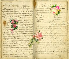 Vintage Journal with Roses Background ~ Playingwithbrushes