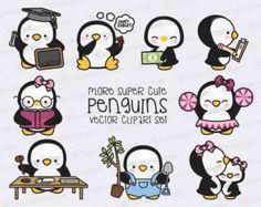 Premie Vector Clipart - meer Kawaii Penguins - meer schattige pinguïns Clipart Set - hoge kwaliteit vectoren - Instant Download - Kawaii Clipart