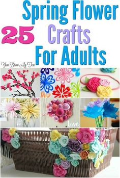 Check out this huge list of great Spring Flower Craft Ideas! Tons of fun crafts for adults to make to brighten a room this Spring, or to even adorn their hair!