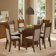 Foto 1 - Conjunto Sala de Jantar Mesa e 6 cadeiras Atlanta Madesa Rustic/Crema/Suede Pérola