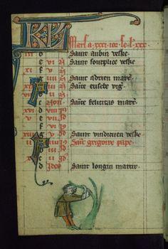 Book of Hours Marginalia Walters Manuscript W.88 fol. 5v by Walters Art Museum Illuminated Manuscripts