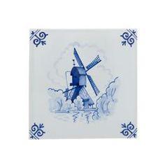 Delfs blauw tegeltje met molen