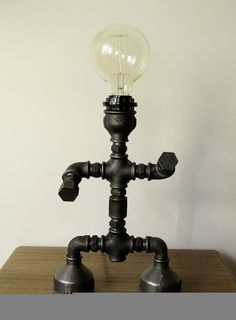 Robot Pipe Lamp Pipe style Edison Bulb by HandMadeProjects4u