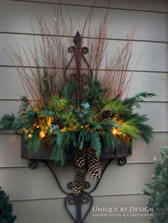 Container gardening, a basic bit of handy gardening ideas, post number 1129910548 Christmas Window Boxes, Christmas Urns, Christmas Planters, Christmas Arrangements, Outdoor Christmas Decorations, Winter Christmas, Christmas Wreaths, Christmas Crafts, Winter Container Gardening