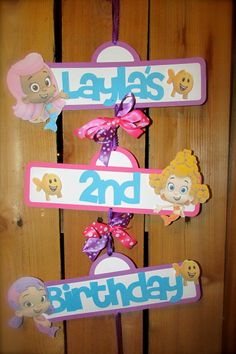 Bubble Guppies Birthday Door Sign - personalized with name and age Birthday Door, Girl 2nd Birthday, 3rd Birthday Parties, Bubble Guppies Birthday, Bubble Party, Second Birthday Ideas, Making Ideas, First Birthdays, Party Time