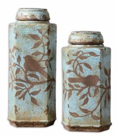 Uttermost Set of 2 Freya Tall Covered Ceramic Jars