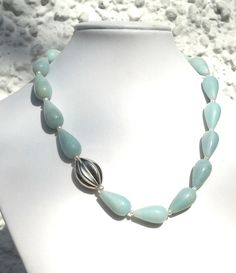 amazonite and freshwater pearls necklace with sterling silver  http://www.etsy.com/shop/CarlaDiVolpe