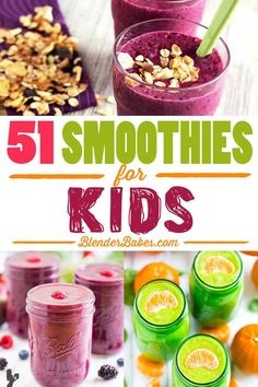 51 Yummy Smoothies for Kids via @BlenderBabes | If you're eating healthy and you want your kids to do the same, but it seems like they might take a bit more convincing, fear not! Here at Blender Babes we've got the perfect round up of simple and yummy smoothie recipes for kids that they will love.