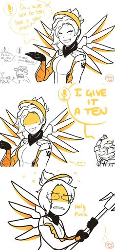 chibigaia-art: the team was spamming voice lines and I accidentally made our Mercy worry
