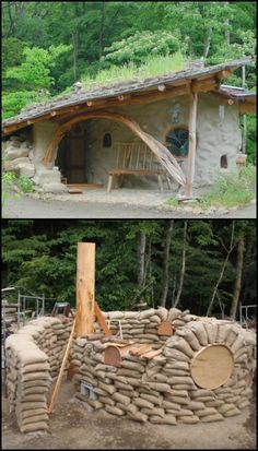 Here's another inspiring earthbag construction for fans of natural homes out there! The Shantikuthi Earthbag Spiral House is called such because its walls were built in a spiral pattern. Its roof also has a spiral garden where visitors can harvest seeds Casa Dos Hobbits, Spiral Garden, Earth Bag Homes, Earthship Home, Earthship Design, Natural Homes, Natural Building, Future House, Tiny House
