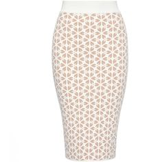 Alexander McQueen Embossed Cut Out Flower Jacquard Pencil Skirt ($460) ❤ liked on Polyvore featuring skirts, bottoms, alexander mcqueen, white knee length skirt, white skirt, knee length skirts and jacquard skirt