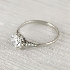 1 Carat Cushion Cut Vintage Engagement Ring | Erstwhile....what's up with me and vintage rings? They're just so pretty!
