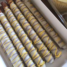 Yellow and grey pretzel rods