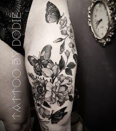 Dog Tattoos, Black Tattoos, Tatoos, Dodie Tattoo, Thigh Sleeve Tattoo, Upper Thigh Tattoos, Flower Spine Tattoos, Cover Up Tattoos, Sleeve Tattoos For Women