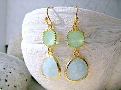 Alice blue Earrings,Pale Mint earrings,Gold earrings,Alice Blue Jewelry,Beach Wedding,Bridesmaids Earrings,Pale Mint Jewelry,Bridesmaid Gift by LetItBeLove on Etsy