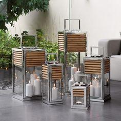 FInk Lateren GENUA - Sie imponieren durch eine Kastenform, die an asiatische Vorbilder erinnert, und durch die gekonnte Materialkombination von Teakholz und Edelstahl. In vier verschiedenen Formaten erhältlich.