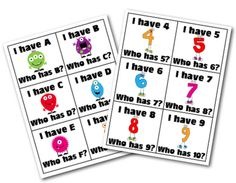 "Monster ""I have...Who has"" game for letter & number identification. FREE!"
